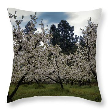Big Apple Blossoms Throw Pillow by William Havle