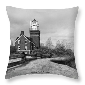 Big Bay Point Lighthouse Titled Throw Pillow by Darren Kopecky