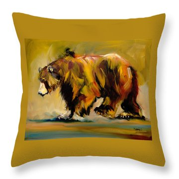 Big Bear Walking Throw Pillow