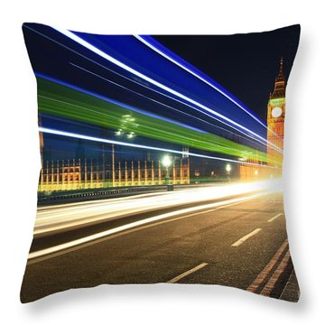 Big Ben And A Bus Throw Pillow