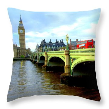 Big Ben And River Thames Throw Pillow