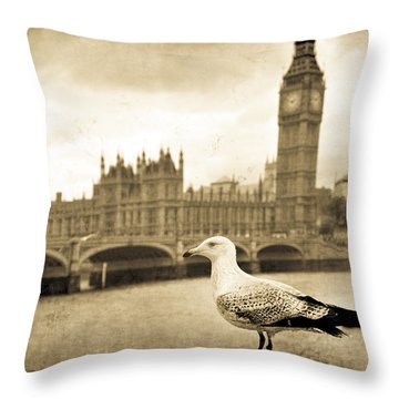Big Ben And The Seagull Throw Pillow
