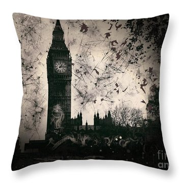 Big Ben Black And White Throw Pillow