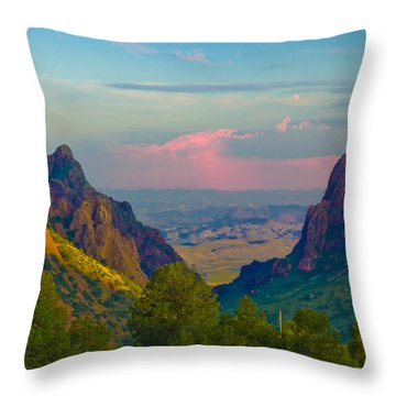 Big Bend Texas From The Chisos Mountain Lodge Throw Pillow
