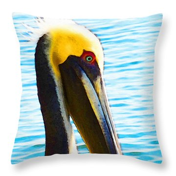Big Bill - Pelican Art By Sharon Cummings Throw Pillow by Sharon Cummings