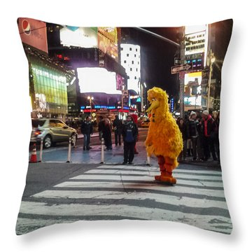 Big Bird On Times Square Throw Pillow