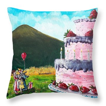 Big Birthday Surprise Throw Pillow by Shana Rowe Jackson
