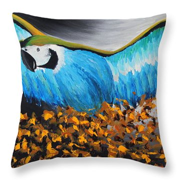 Big Blue Bird Throw Pillow