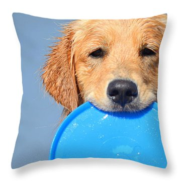 Big Blue Smile Throw Pillow by Fraida Gutovich