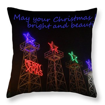 Big Bright Christmas Greeting  Throw Pillow by Kathy  White