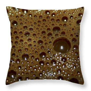Big Bubble - Coffee  Throw Pillow by Ramabhadran Thirupattur