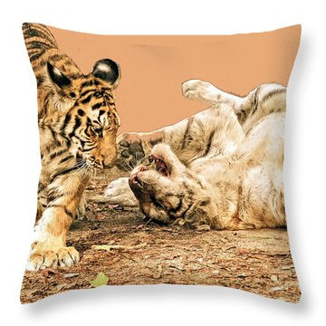 Throw Pillow featuring the photograph Big Cats by Constantine Gregory
