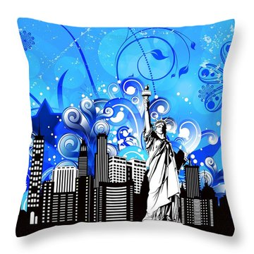 Big City Blues 4 Liberty Throw Pillow by Stanley Mathis