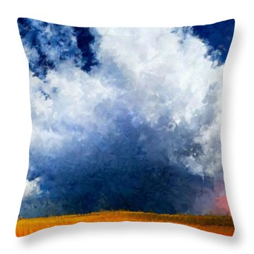 Throw Pillow featuring the painting Big Cloud In A Field by Bruce Nutting