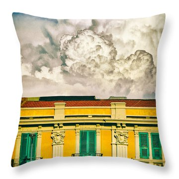 Throw Pillow featuring the photograph Big Cloud Over City Building by Silvia Ganora