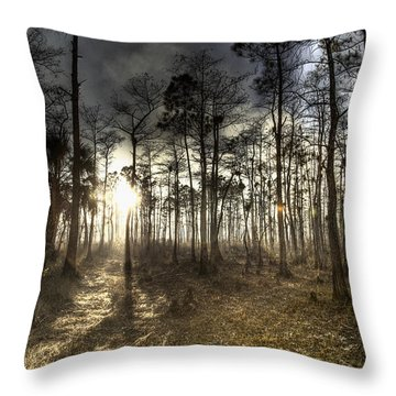 Big Cypress Fire At Sunset Throw Pillow