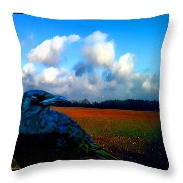Big Daddy Crow Series Silent Watcher Throw Pillow by Lesa Fine
