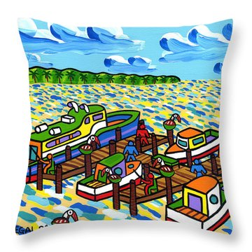 Big Dock - Cedar Key Throw Pillow by Mike Segal