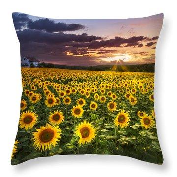 Big Field Of Sunflowers Throw Pillow by Debra and Dave Vanderlaan