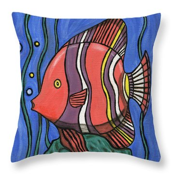 Big Fish Throw Pillow by Roz Abellera Art