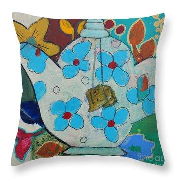 Big Floral Tea Pot Throw Pillow