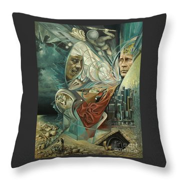 Throw Pillow featuring the painting Big Game Or Silence Is Gold by Mikhail Savchenko