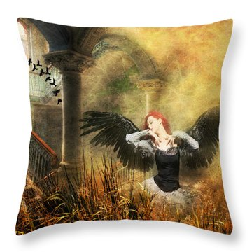 Throw Pillow featuring the digital art Big Girls Cry  by Riana Van Staden