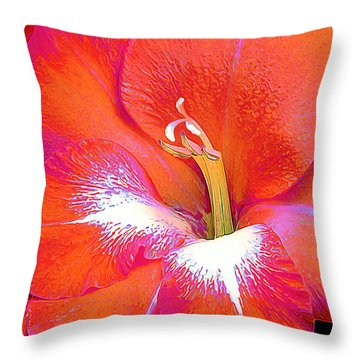 Throw Pillow featuring the photograph Big Glad In Orange And Fuchsia by ABeautifulSky Photography