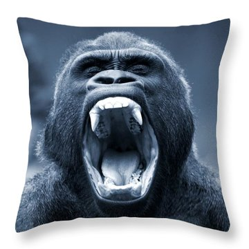 Big Gorilla Yawn Throw Pillow
