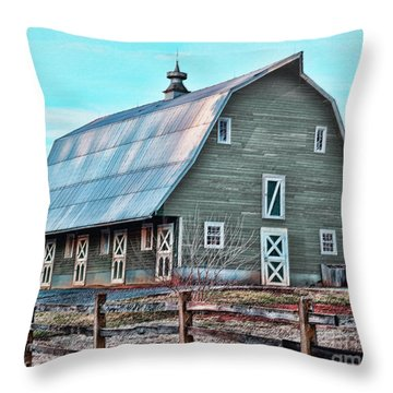Throw Pillow featuring the photograph Big Green Barn by B Wayne Mullins