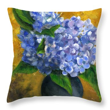 Big Hydrangeas In Little Black Vase Throw Pillow by Lenora  De Lude