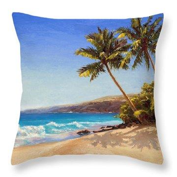 Hawaiian Beach Seascape - Big Island Getaway  Throw Pillow