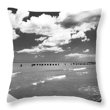 Big Lake Clouds Black White Throw Pillow