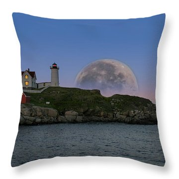 Big Moon Over Nubble Lighthouse Throw Pillow