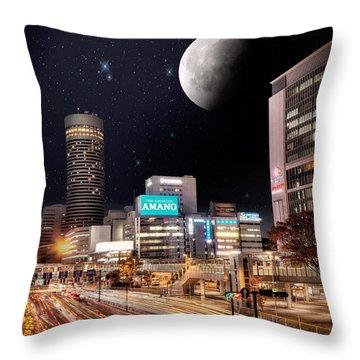 Throw Pillow featuring the photograph Big Moon Yokohama by John Swartz