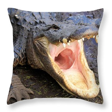 Big Mouth Throw Pillow by Adam Jewell