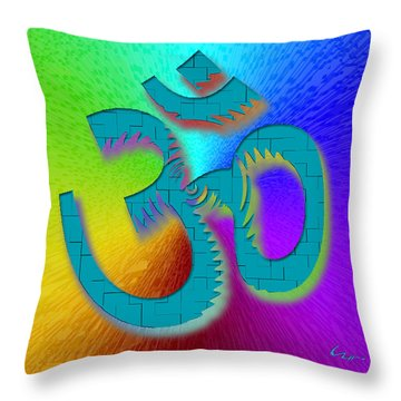 Throw Pillow featuring the mixed media Big Ohm by Carl Hunter