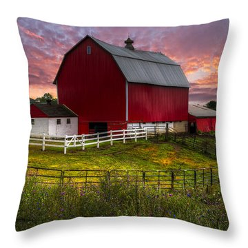 Big Red At Sunset Throw Pillow by Debra and Dave Vanderlaan