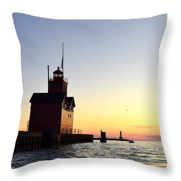 Big Red At Sunset Throw Pillow by Michelle Calkins
