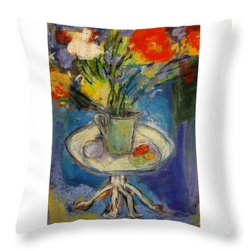 Big Red Flowers In A Pale Green Vase  Throw Pillow by Tolere
