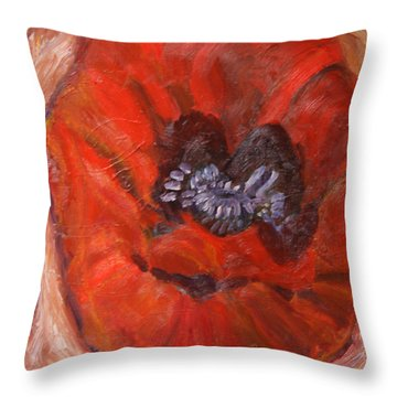 Big Red Poppy Throw Pillow