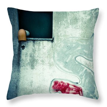 Big S With Window Pipe And Red Spray Throw Pillow by Silvia Ganora