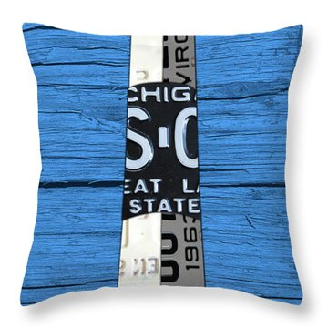 Big Sable Point Lighthouse Michigan Great Lakes License Plate Art Throw Pillow by Design Turnpike
