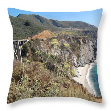 Throw Pillow featuring the photograph Big Sur Bixby Bridge And Beach by Debra Thompson