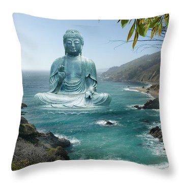 Big Sur Tea Garden Buddha Throw Pillow by Alixandra Mullins