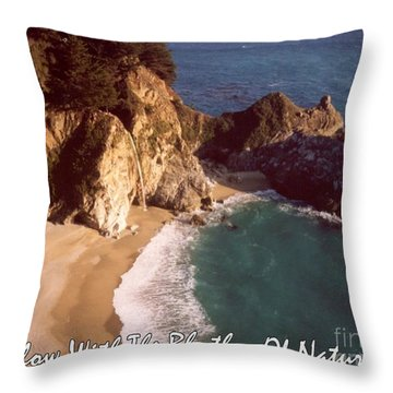 Big Sur Water Falls Throw Pillow by Marlene Rose Besso