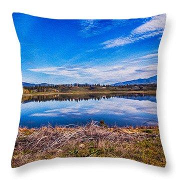 Big Twin Lake Throw Pillow by Omaste Witkowski
