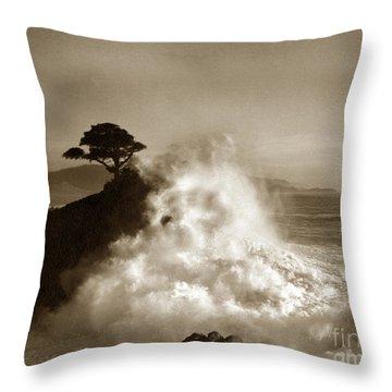 Big Wave Hitting The Lone Cypress Tree Pebble Beach California 1916 Throw Pillow