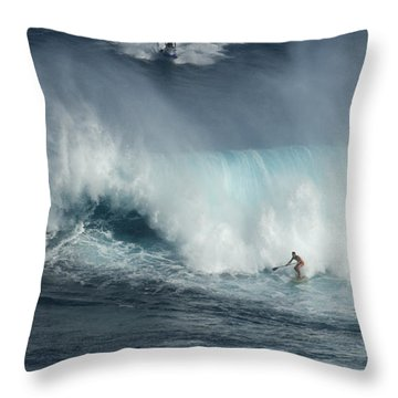 Big Wave Surfers Maui Throw Pillow by Bob Christopher