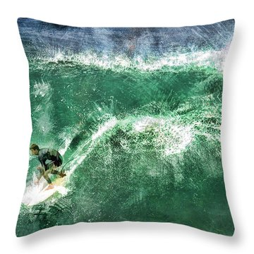Big Wave Surfing Throw Pillow by Elaine Plesser